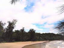 Vue de bord de la mer de nature à la baie Miri Sarawak Malaysia de Tanjung Lobang photographie stock libre de droits