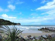 Vue de bord de la mer de nature à la baie Miri Sarawak Malaysia de Tanjung Lobang photo libre de droits