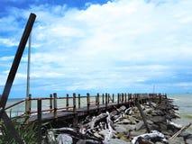 Vue de bord de la mer de nature à la baie Miri Sarawak Malaysia de Tanjung Lobang photos stock