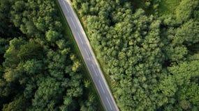 Vue de bourdon de route par la forêt images stock