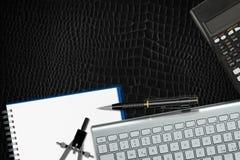 Vue de bureau de bureau - cuir noir Image libre de droits