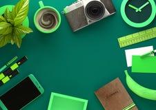 Vue de bureau verte d'espace de travail Photographie stock