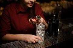 Vue de côté de barman féminin versant du genièvre dans un verre de cocktail images libres de droits