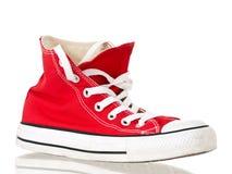 Vue de côté de chaussure rouge de cru Image libre de droits