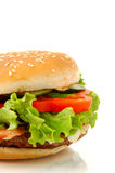 Vue de côté de grand hamburger d'isolement Photos stock