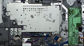 Vue de côté de l'intérieur électronique d'une imprimante photographie stock