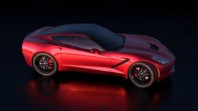 Vue de côté droit d'une belle voiture de sport rouge avec le desig américain illustration de vecteur
