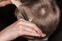 Vue de côté du petit garçon mignon obtenant la coupe de cheveux par le coiffeur à Photographie stock