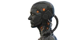 Vue de côté de humanoïde de femme de cyborg de robot d'Android - rendu 3d illustration stock
