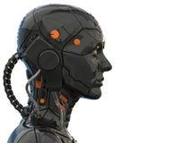 Vue de côté de humanoïde de femme de cyborg de robot d'Android - rendu 3d illustration libre de droits