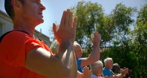 Vue de côté de l'entraîneur masculin caucasien formant les personnes supérieures en exécutant le yoga au jardin de n 4k banque de vidéos