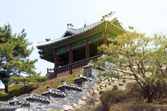 Vue de côté de pagoda coréenne antique Ville de Suwon, Corée du Sud images stock