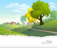 Vue de côté de pays d'une ville avec les arbres verts, l'herbe fraîche et le ciel bleu illustration de vecteur