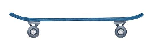 Vue de côté de planche à roulettes vide bleu-foncé photo stock