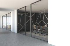 Vue de côté de réunion de lieu de modèle en verre noir de lobby Images stock