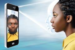 Vue de côté de technologie conceptuelle de reconnaissance des visages photos libres de droits