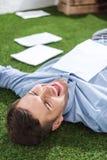 Vue de côté d'homme d'affaires de sourire se trouvant sur l'herbe avec des documents Images stock