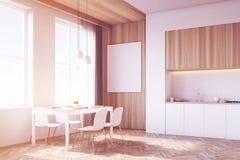 Vue de côté d'intérieur de cuisine, bois, modifié la tonalité Image libre de droits
