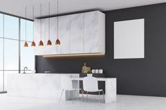 Vue de côté d'une cuisine avec les meubles de marbre, les murs noirs, la fenêtre panoramique et une petite table avec deux chaise illustration stock