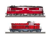 Vue de côté de couleur de locomotives diesel Photo libre de droits