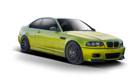 Vue de côté de coupé de BMW d'isolement sur le blanc Image libre de droits