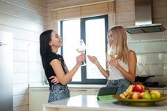 Vue de côté de deux femmes riantes buvant du vin Photos libres de droits