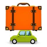 Vue de côté de grand bagage de voyage sur la voiture Images libres de droits