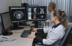 Vue de côté de jeune docteur travaillant sur l'ordinateur Image libre de droits