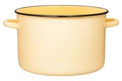 Vue de côté de la grande marmite à bouillon jaune d'émail d'isolement Photo stock