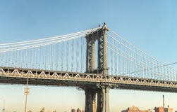 Vue de côté de pont de Manhattan, New York City Photos libres de droits