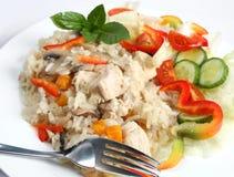 Vue de côté de risotto de poulet Images stock