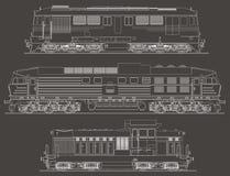 Vue de côté de vecteur de locomotives diesel Image libre de droits