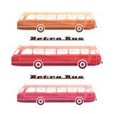 Vue de côté des silhouettes colorées du rétro autobus Photo stock