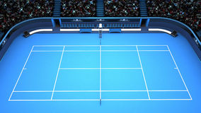Vue de côté supérieure de perspective bleue de cour de tennis Photographie stock libre de droits