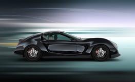 Vue de côté de voiture de sport noire élégante avec le fond de tache floue de mouvement Photos stock