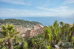 Vue de côte de la Riviera du haut du village Eze Photos stock