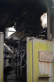 Vue de cabine d'une locomotive à vapeur abandonnée Photographie stock