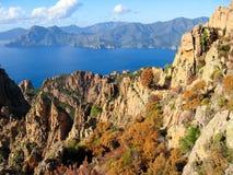 Vue de Calanques de Piana La Corse, France Image stock