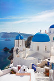 Vue de caldeira avec les escaliers et l'église, Santorini Images libres de droits