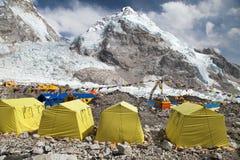 Vue de camp de base du mont Everest Photos stock