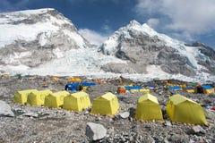 Vue de camp de base du mont Everest Images libres de droits