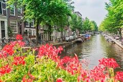 Vue de canal à Amsterdam, Hollande Images stock