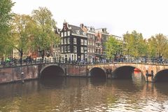 Vue de canal d'Amsterdam, Netherland Photos libres de droits