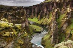 Vue de canyon de Fjadrargljufur Photographie stock libre de droits