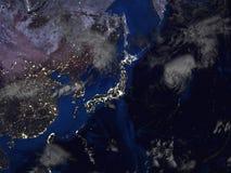 Vue de carte de l'Asie et du Japon de l'espace 3d illustration stock