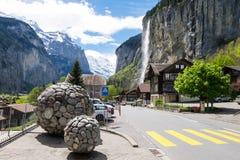 Vue de cascade de Staubbach dans Lauterbrunnen images stock