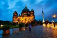 Vue de cathédrale évangélique située sur l'île de musée à Berlin, Allemagne Images libres de droits