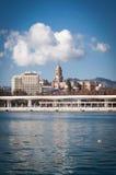 Vue de cathédrale du port, Malaga images stock