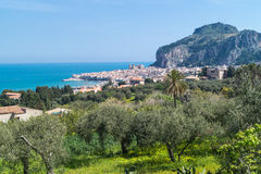 Vue de Cefalu, Sicile Photo stock