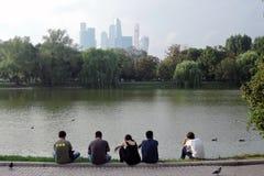 Vue de centre d'affaires de ville de Moscou Le remblai de rivière de Moscou Image libre de droits
